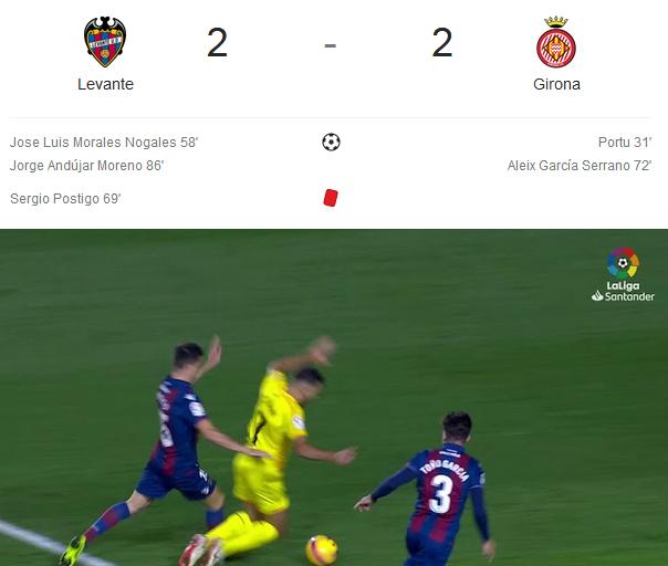 Liga Spanyol 2018/2019, Levante Vs Girona 2-2