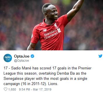 Sadio Mane Cetak Rekor Baru Pemain Senegal